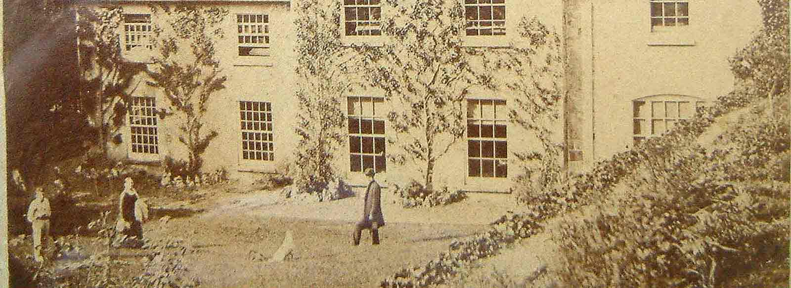Pen-y-Dyffryn (The Old Rectory) in 1884 with Reverend Jones in the foreground