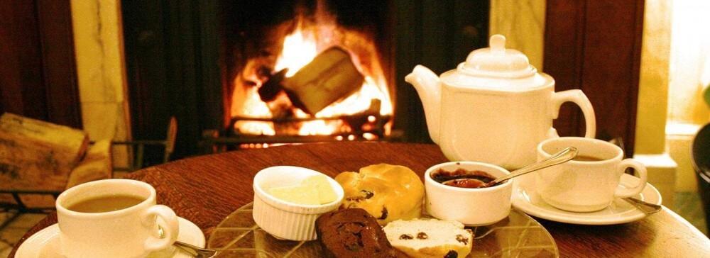 cream tea by the log fire
