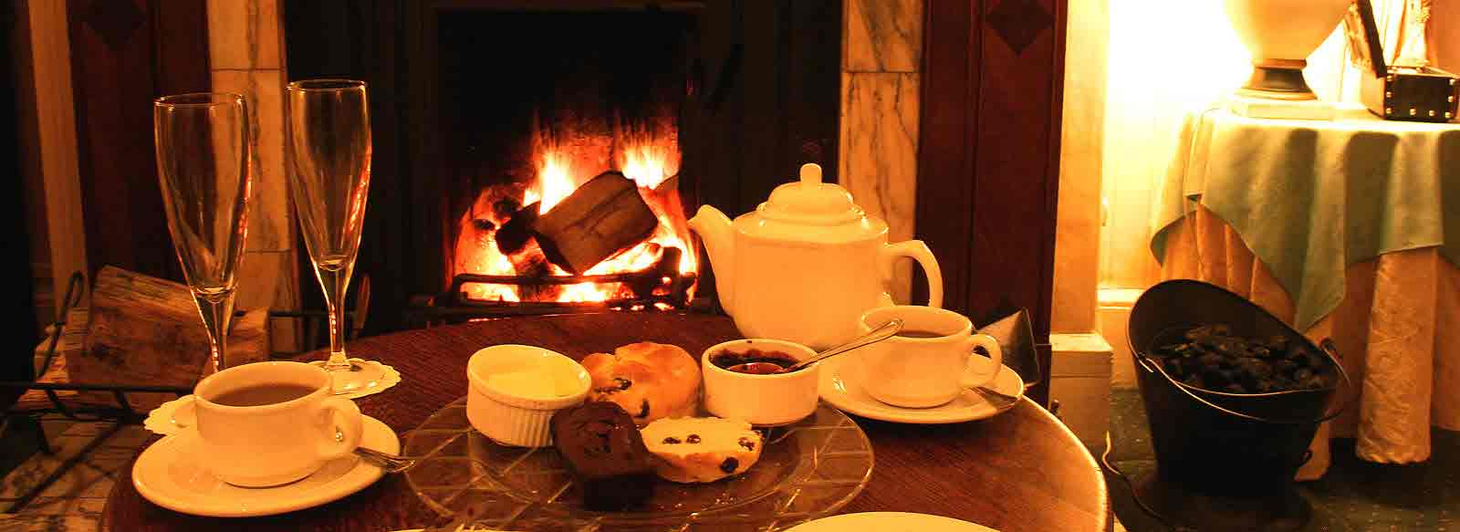 tea by hotel fire
